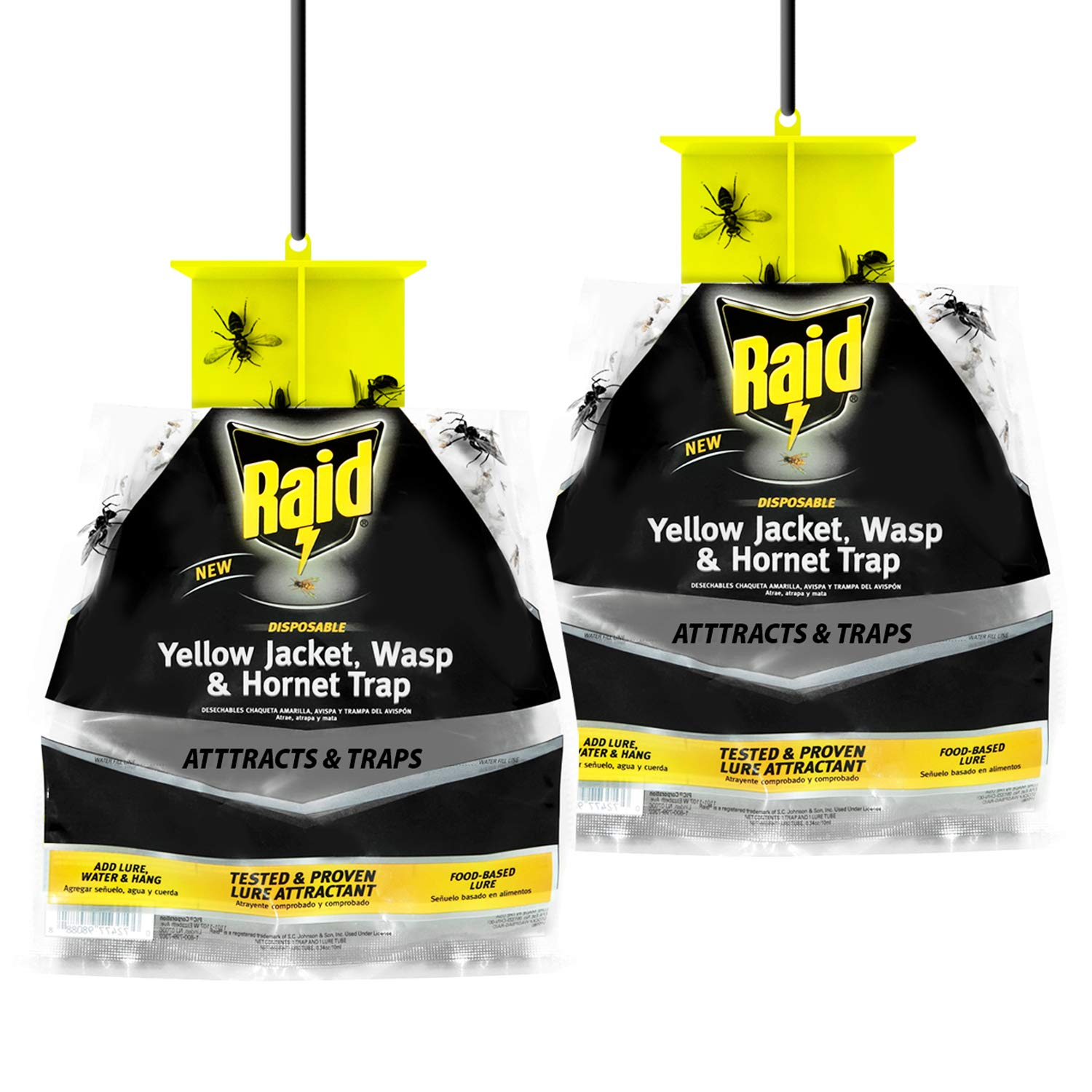 Raid Wasp Trap, Yellow Jacket Trap & Hornet Traps for Outdoors (2-Pack), Hanging Insect Trap, Disposable Wasp, Hornet & Yellow Jacket Traps w/Food-Based Attractants, Effective Yellowjacket Wasp Trap by Raid