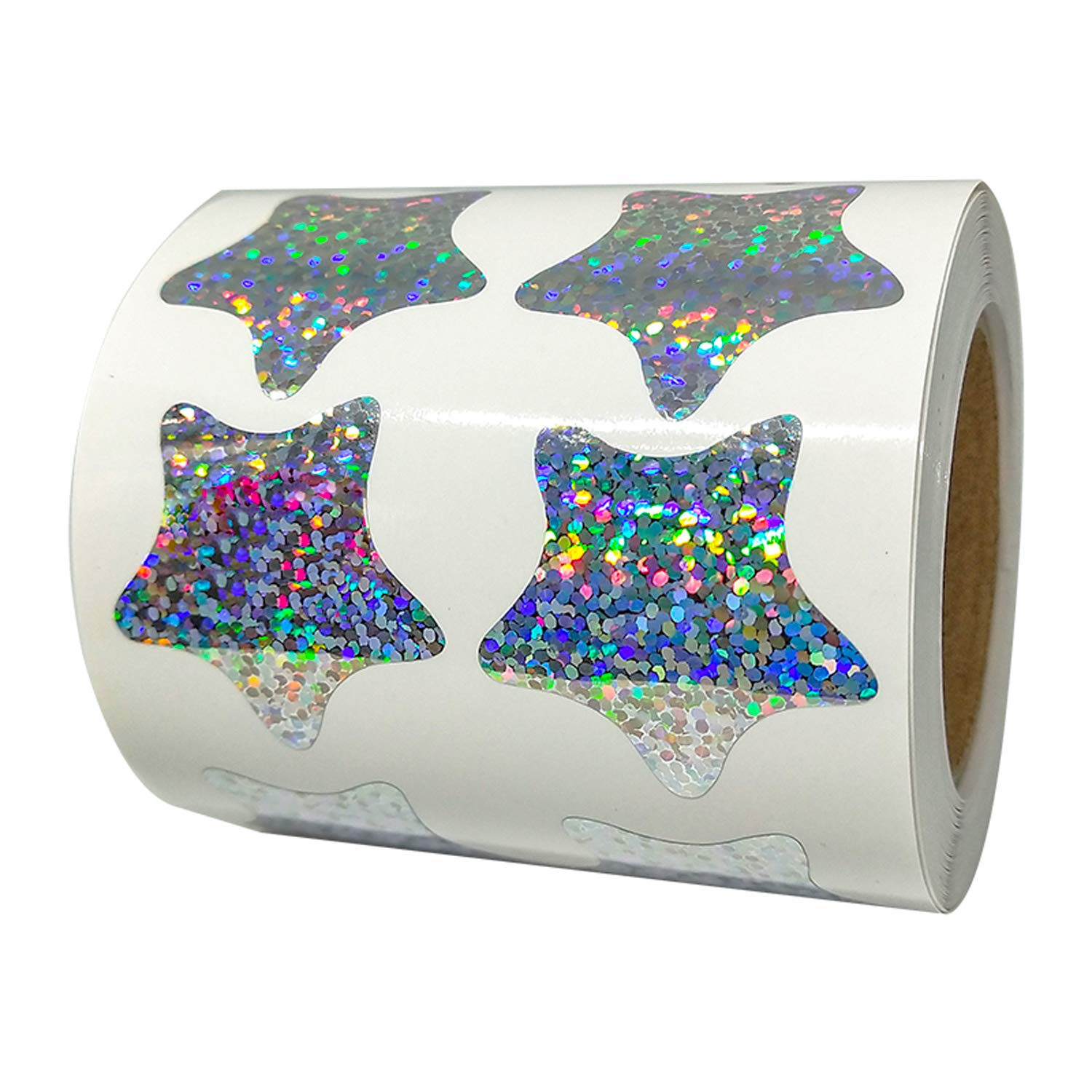 1.2 Inch Glitter Foil Metallic Star Shape Stickers Shiney Sparkly - 500 Smallpox Class Stars Sticker Roll Labels - Self-adhesive Scrapbooking Party Favors Teacher Supplies (Glitter star stickers) by Well Tile