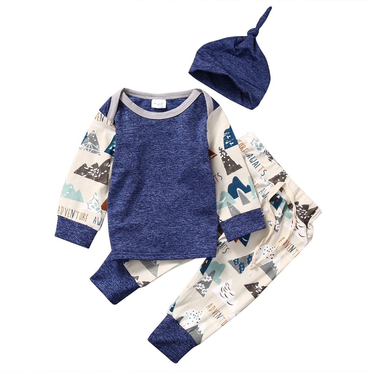 honeys Baby Boy Girl 3pcs Set Mountain Pattern Suit Long Sleeve Top+Pants+Hat