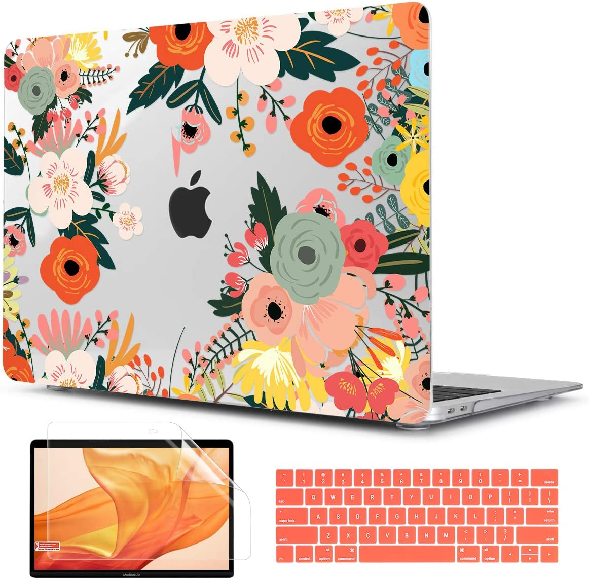 Two L MacBook Pro 13 inch Case 2016-2019 Model A2159/A1989/A1706/A1708, Transparent Printed Hard Shell Case with Silicone Keyboard Skin and Screen Protector (Blooming Flower)
