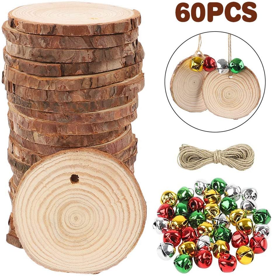 AGEOMET Natural Wood Slices 60pcs 2-2.4 Inches Craft Wood Kit Unfinished Predrilled with 120pcs Jingle Bells for Arts Christmas Ornaments DIY Crafts