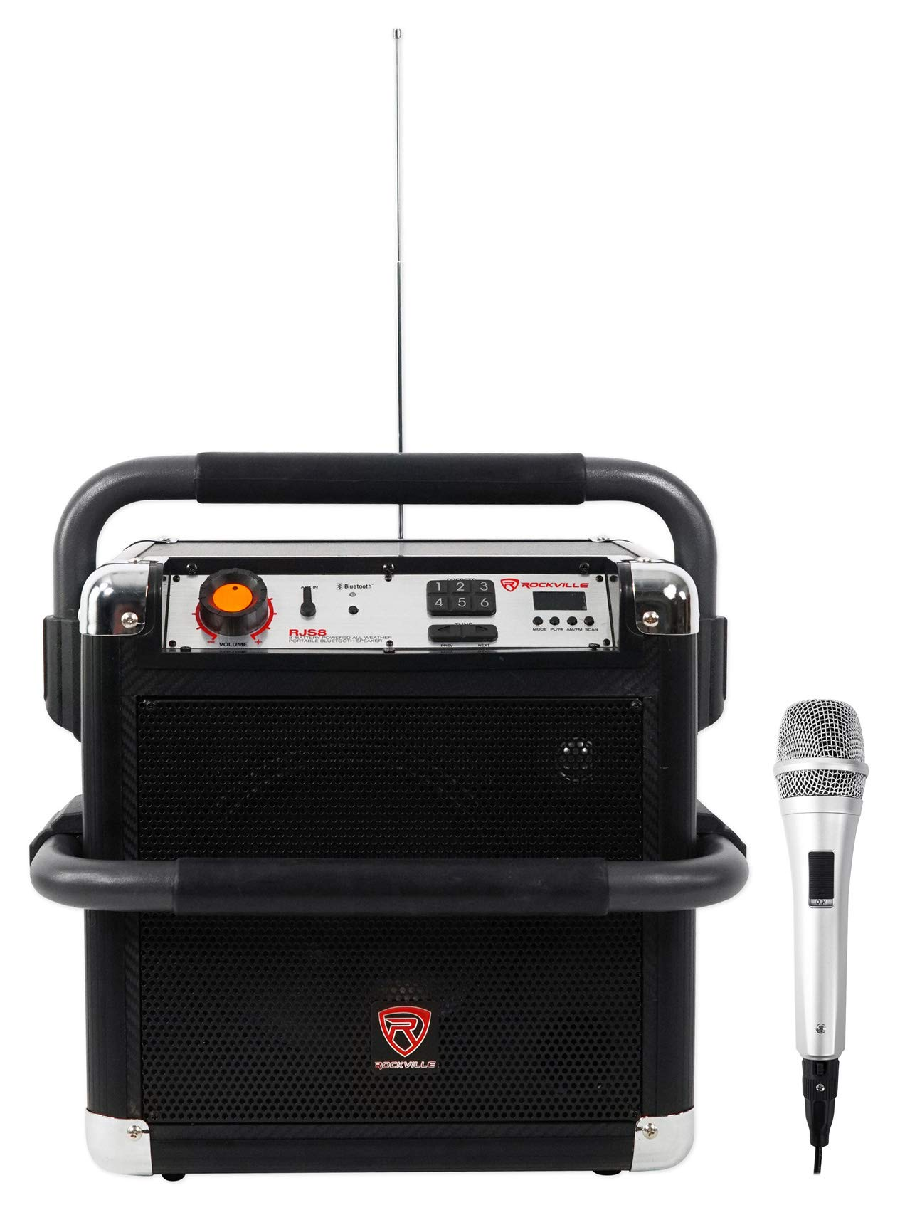 Rockville Rjs8 8'' Jobsite/Portable Rechargeable Powered Bluetooth Pro Speaker/Mic by Rockville