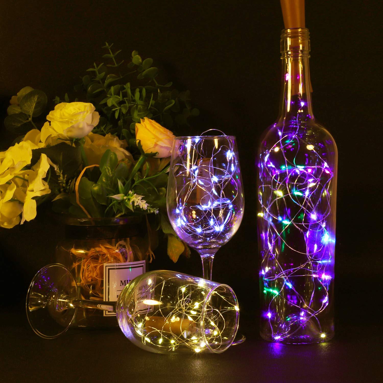 Sweetneed Luz de Botella Luz de bricolaje,Luz Ambiente,Lámpara Decorada Kolpop Luz Corcho 2m 20 LED a Pilas Decorativas Cobre Luz Para Romántico Boda, ...