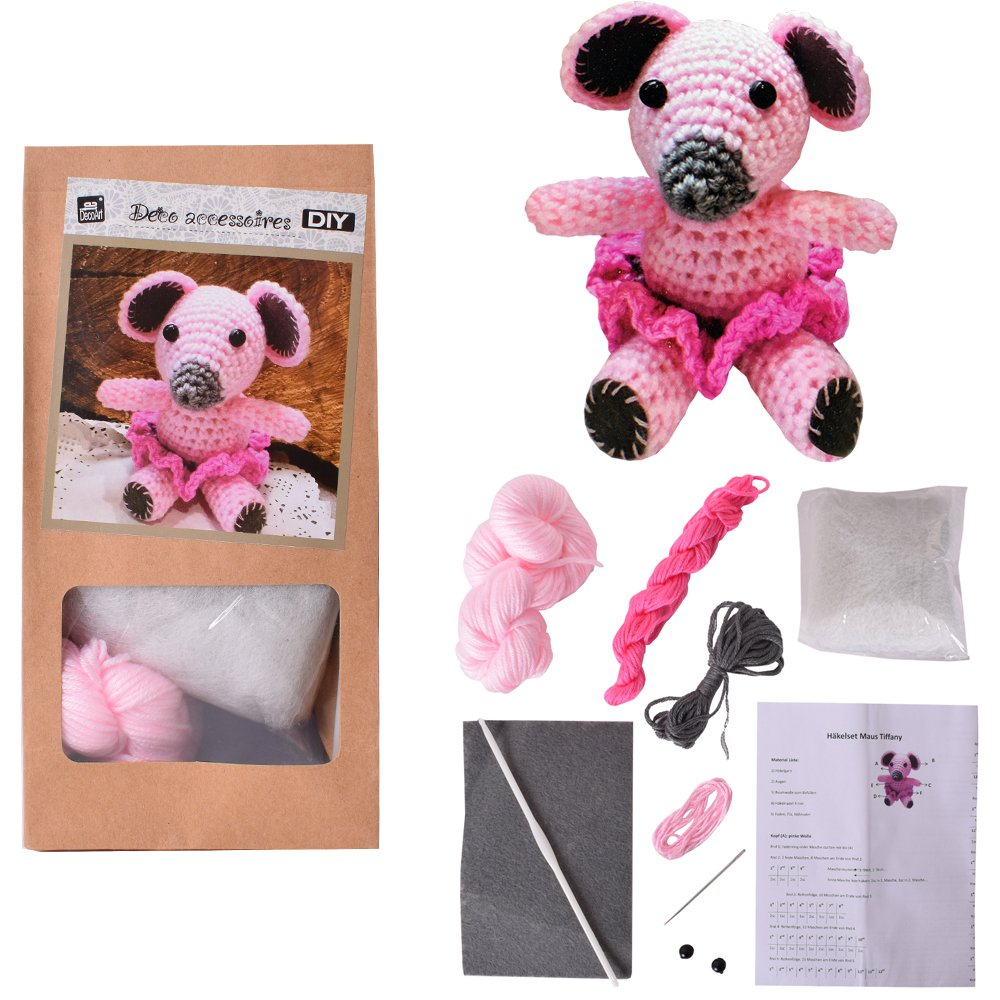 2 Pcs DIY Mini Crochet kit Crafting kit Crochet animal Mouse or Elephant For Self Crochet and Give away 10 cm pink turquoise - Elephant TE-Importe
