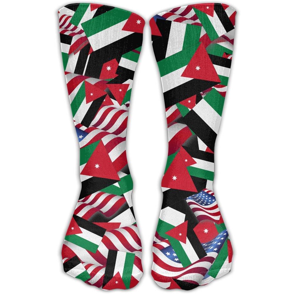 Jordan Flag With America Flag Casual Socks Crew Socks Crazy Socks Soft Breathable For Women Sports Athletic Running