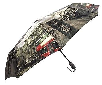 Londres ciudad Auto plegable abrir y cerrar paraguas, lujo resistente al viento umbrella925