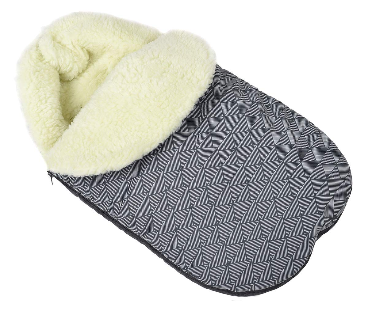Comfortable Baby Sleeping Bag to Pushchairs Footmuff Cover Wool Black with a Hoodie [071] Ferocity SPI-WOREK-09