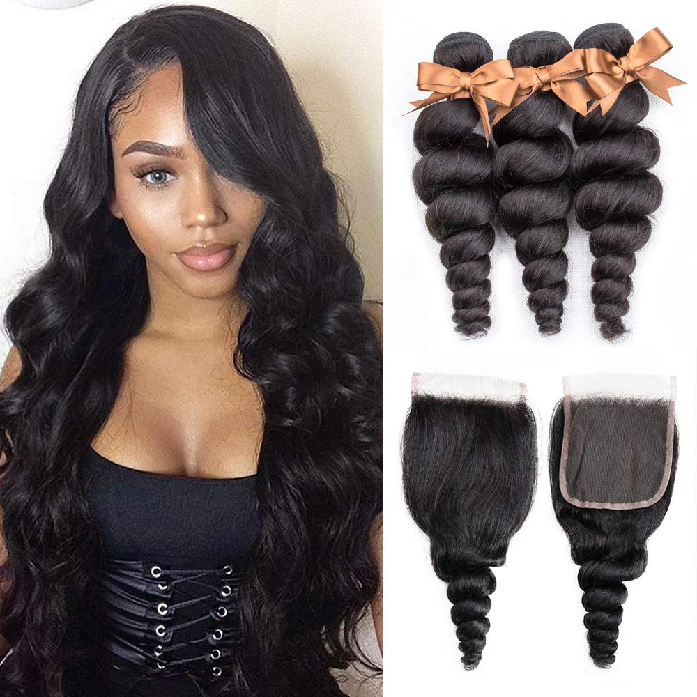 ALLRUN 10A OFFicial store Loose Wave 3 Bundles Closure Brazilian Cash special price with Hai Human