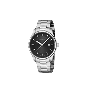 Wenger Mens City Classic Swiss Quartz Stainless Steel Casual Watch, Color:Silver