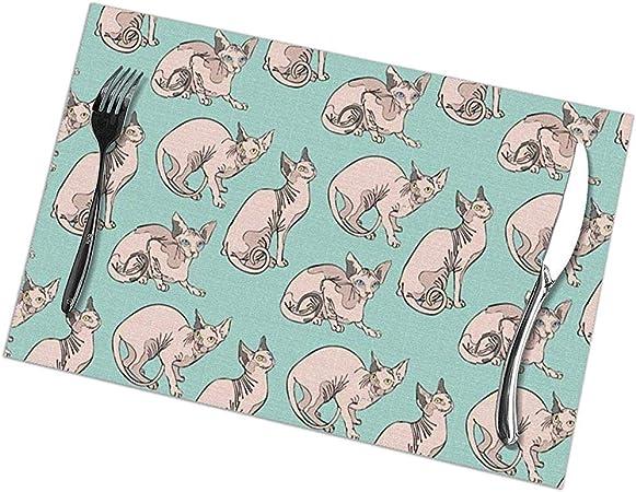 Alvahw Gatos Desnudos Sphynx Cats Print Placemats - Juego de manteles Individuales de Mesa de Comedor de 6 (18 X 12): Amazon.es: Hogar