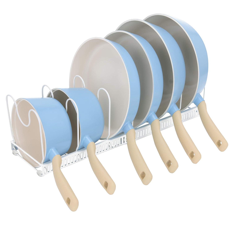 "GRANNY SAYS Pot Organizer Rack Adjustable Kitchen Cookware Organizer Rack, 6 Adjustable Compartments Pot Lid Holder Rack, Extended to 23"", White"