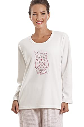 d5ddfc01d6f730 Camille Damen Schlafanzug aus Fleece - Motiv Eule - Weiß 42/44 ...