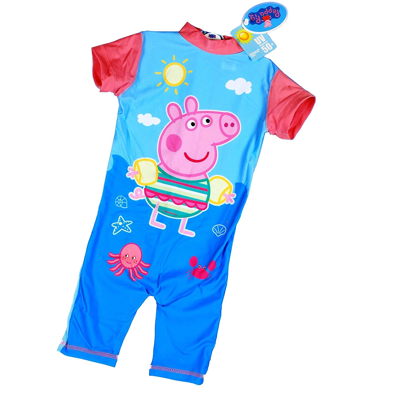 Peppa Pig UV 50 One Piece Swimming Costume for Kids Sun Protection Swimsuit for Boys and Girls