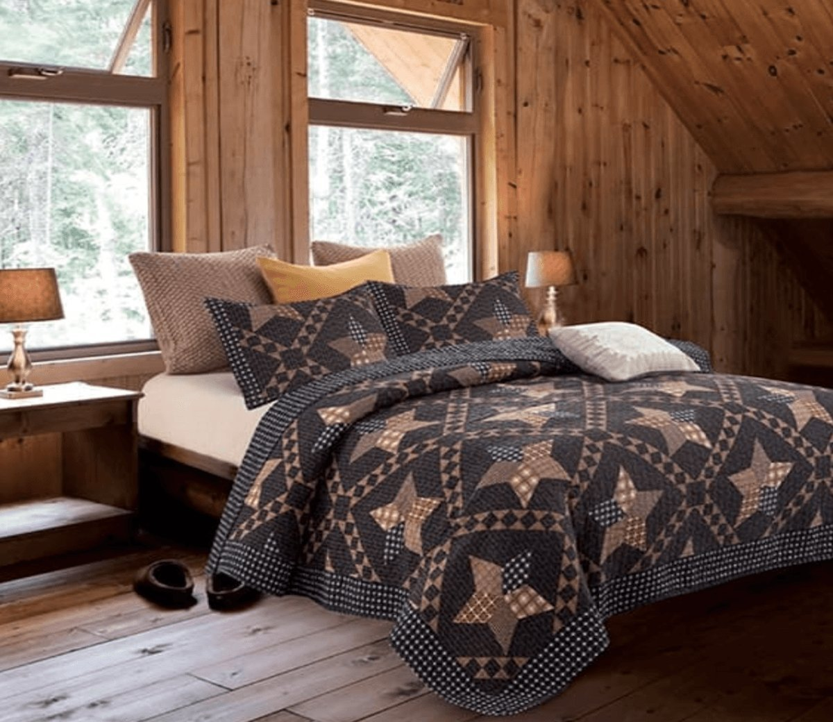 Country Lodge Primitive Americana Black and Brown Star 3pc King Size Quilt Set + Metal BARN Star