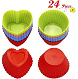 Chefaith 24-Pcs Reusable Silicone Baking Cups, Cupcake Liners, Muffin Cups [12 Heart-Shaped & 12 Round Cups, Each with 4 Colors] - Non-Stick, Heat Resistant (Up to 480F) Mini Baking Molds, Food Grade