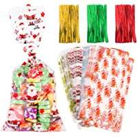 Toyvian Toyvian 200PCS Christmas Cellophane Treat Bags Clear Gift Bags with 300pcs Color Twist Ties Snowflake Snowman Ginger Bread Christmas Trees Patterns for Xmas Wedding Party Supplies