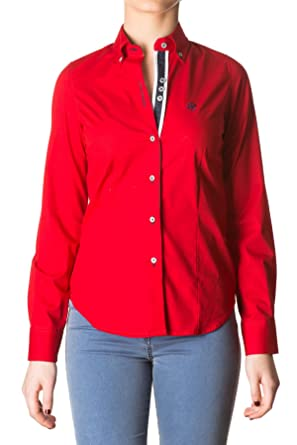 Di Prego Camisa De Mujer Manga Larga Color Rojo Con Puños
