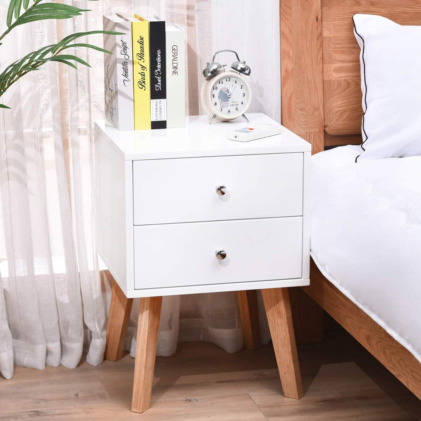 TaoHFE White Nightstand Bedroom Night Stand End Table Side Table Coffee Table with 2 Drawers