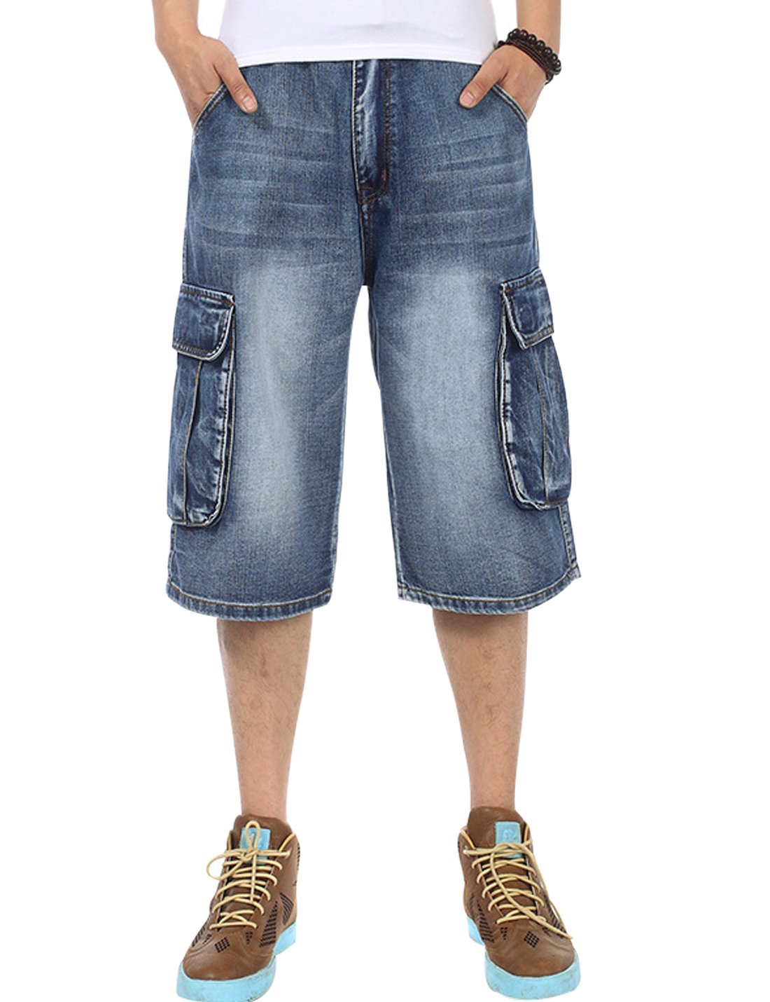 Yeokou Men's Loose Hip Hop Cropped Jeans Work Denim Shorts with Cargo Pockets (38, Blue-Two Pockets)