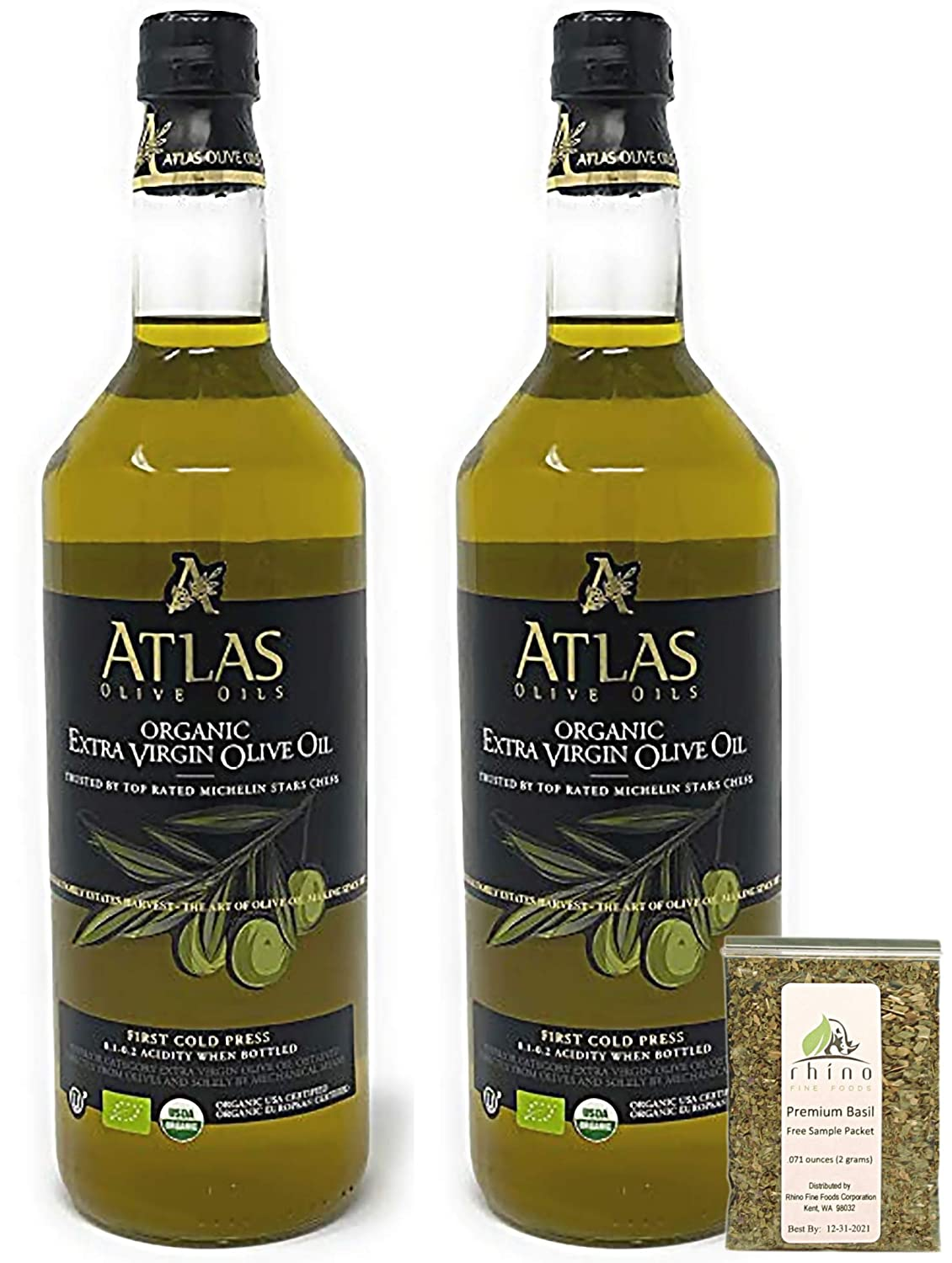 Atlas Olive Oils SARL, Moroccan Organic Extra Virgin Olive Oil (Pack of 2), Imported from Morocco, (1 liter) 33.814 fl oz (each) + Includes-Free Premium Basil Leaves from Rhino Fine Foods, .071 oz