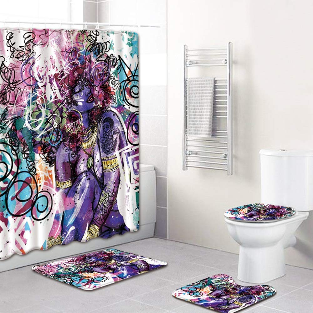 ETH Fashion Girl Pattern Shower Curtain Floor Mat Bathroom Toilet Seat Four-Piece Carpet Water Absorption Does Not Fade Versatile Comfortable Bathroom Mat Can Be Machine Wash Durable by ETH