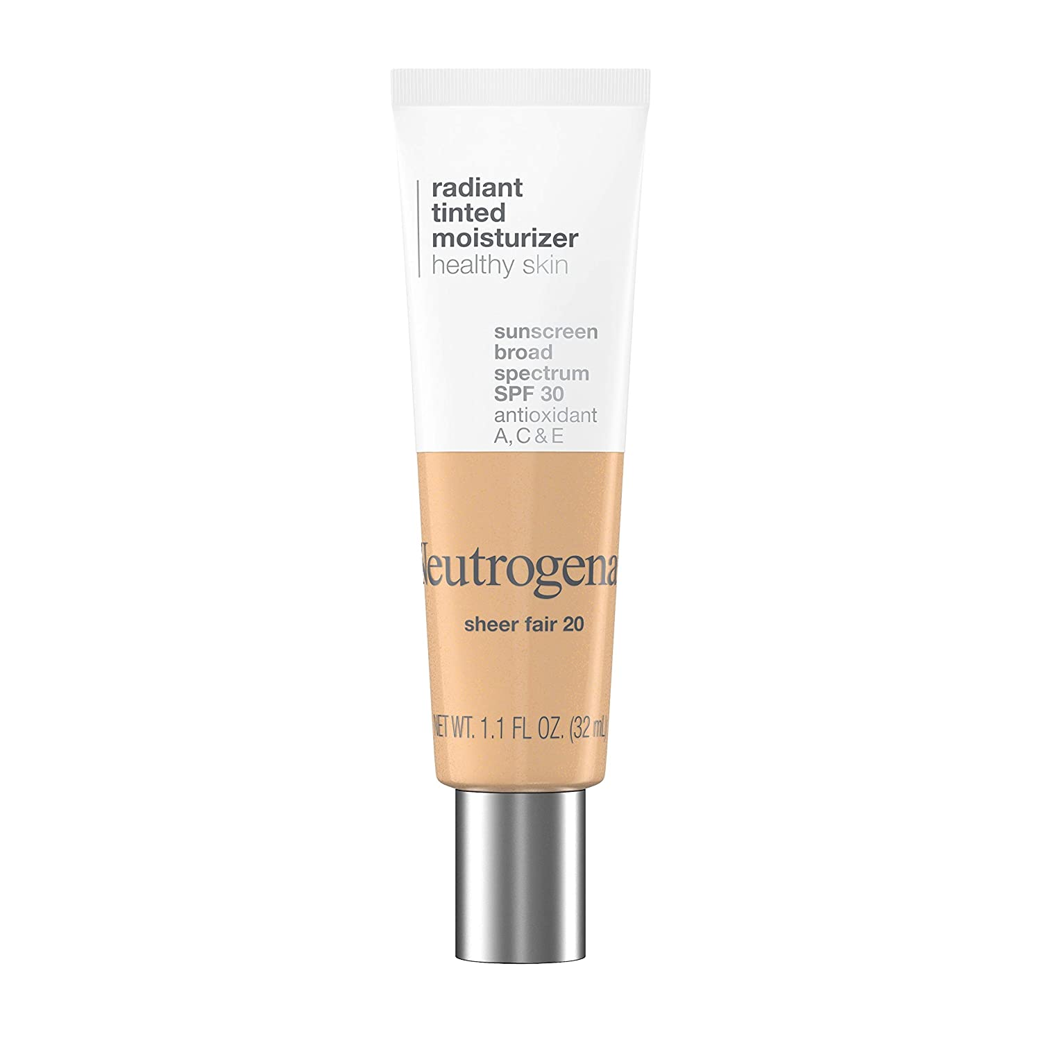 Neutrogena Healthy Skin Radiant Tinted Facial Moisturizer with Broad Spectrum SPF 30 Sunscreen Vitamins A, C, & E, Lightweight, Sheer, & Oil-Free Coverage, Sheer Fair 20, 1.1 fl. oz