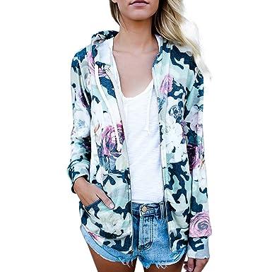 ❤ Abrigo para Mujer impresión, Moda para Mujer Estampado Floral Capa Superior Outwear Sudadera con Capucha Chaqueta Abrigo Absolute: Amazon.es: Ropa y ...