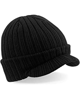 ecf20fb2df0 BEECHFIELD PEAKED BEANIE - RIBBED WARM CAP HAT - 3 COLOURS (BLACK)(Size