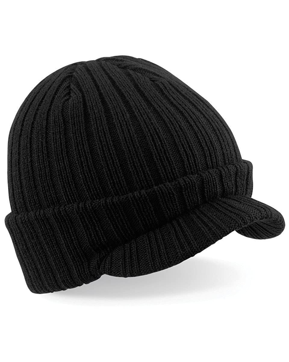 Amazon.com  Beechfied Mens Ribbed Warm Peaked Beanie Cap Hat Black  Clothing f7336626c9b