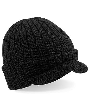 BEECHFIELD PEAKED BEANIE - RIBBED WARM CAP HAT - 3 COLOURS (BLACK)(Size   One Size)  Amazon.co.uk  Clothing 659849c4580