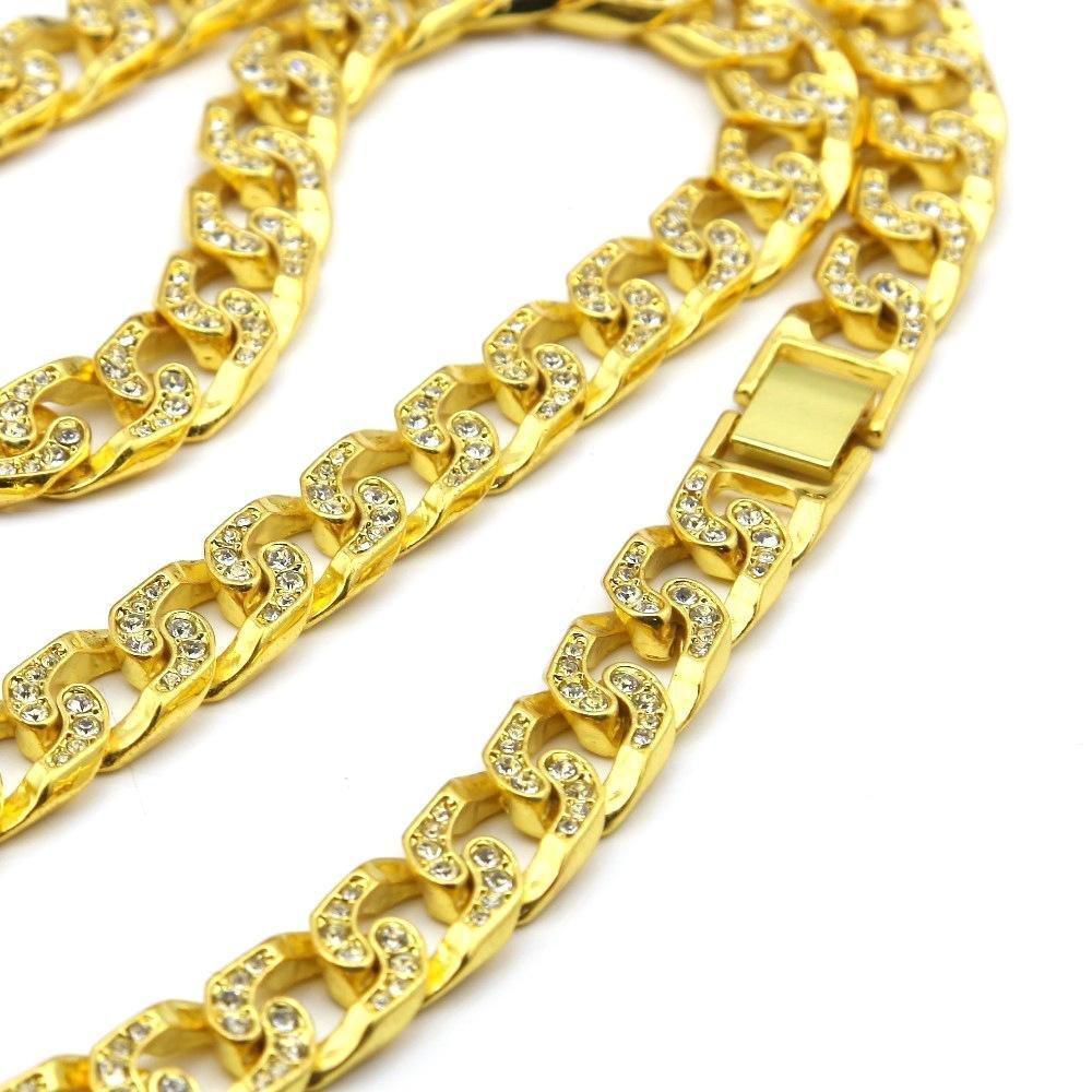Aoligei Rub/í americano cabeza colgante de diamante cubano Hip Hop de hombres cadena set de diamante