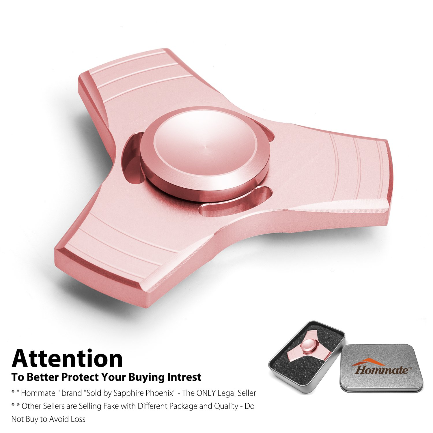 Hommate Finger Spinner Fidget Spinner Toy for EDC ADHD Focus,High Speed,2-3 Min Spins, Finger Playing or Table Top Spin,Optimized Super Smooth German Bearings,Good Balanced (3 Side-Rose golden)
