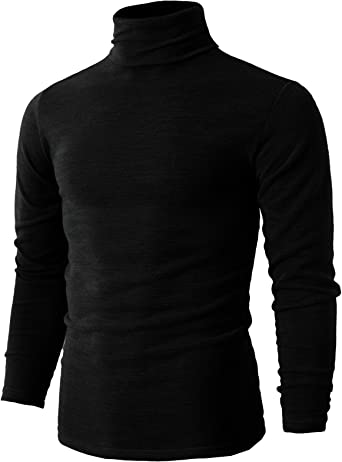 poriff Mens Lightweight Casual Slim Fit Basic Tops Knitted Turtleneck Pullover Sweater