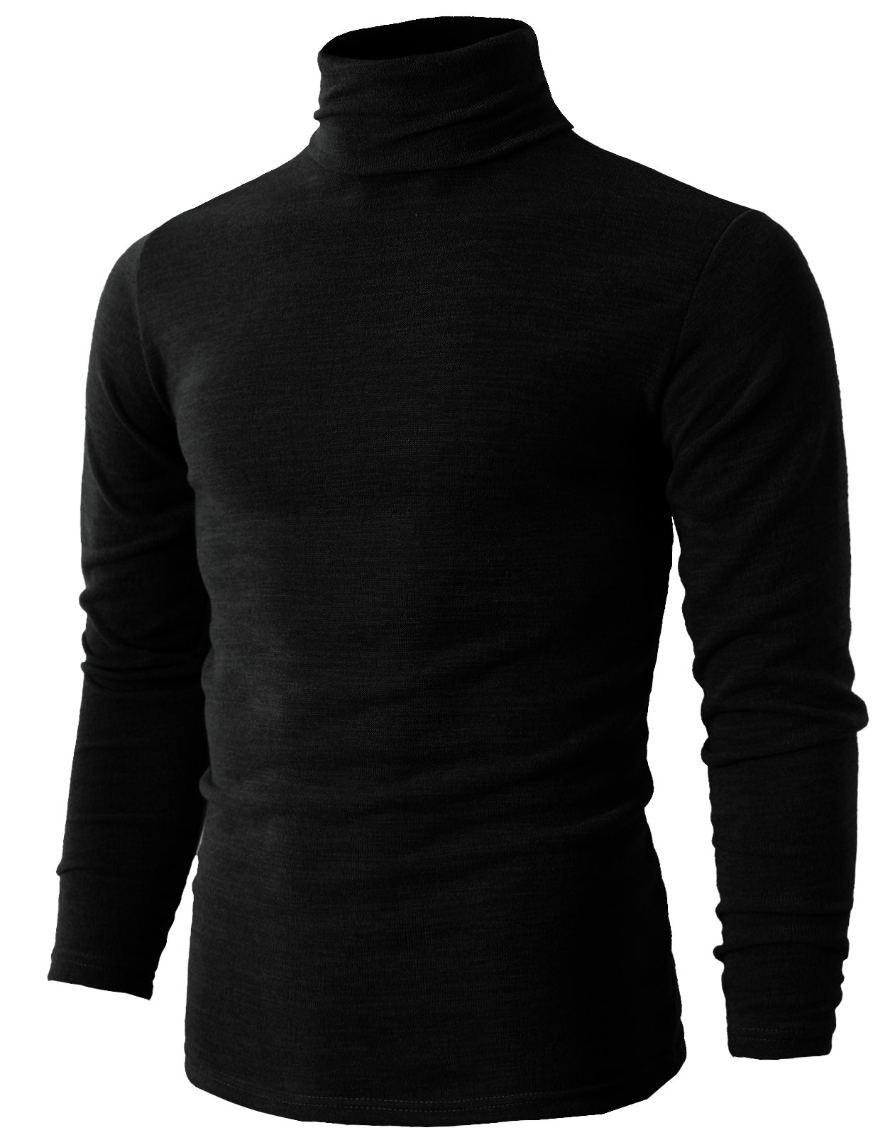 H2H mens black turtleneck sweater BLACK US L/Asia 3XL (KMTTL028)