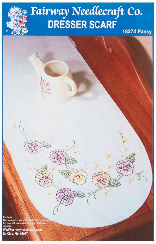 Fairway 18274 Dresser Scarf, Cross Stitch Pansy Design, White, Perle Edge Notions