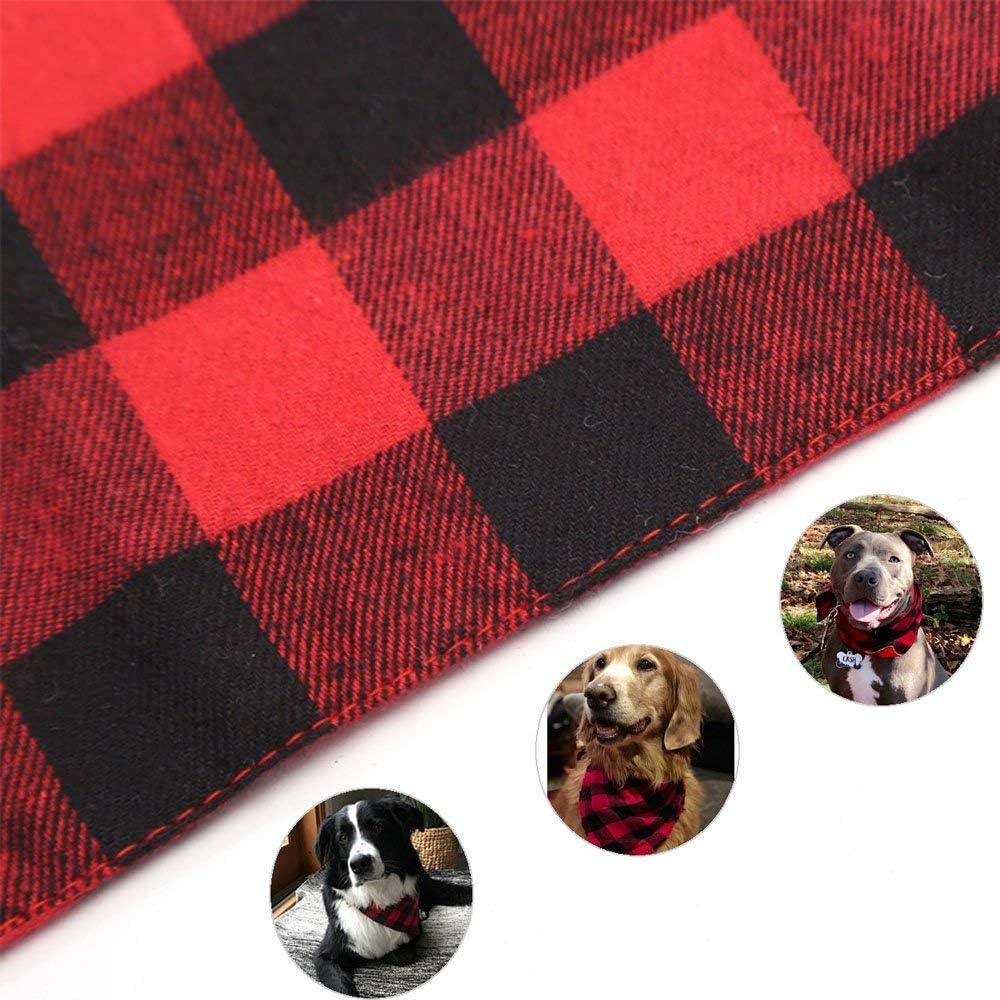 ASOCEA Paquete de 2 pa/ñuelos de algod/ón con dise/ño de tri/ángulo de Navidad para Perros de tama/ño Mediano y Grande