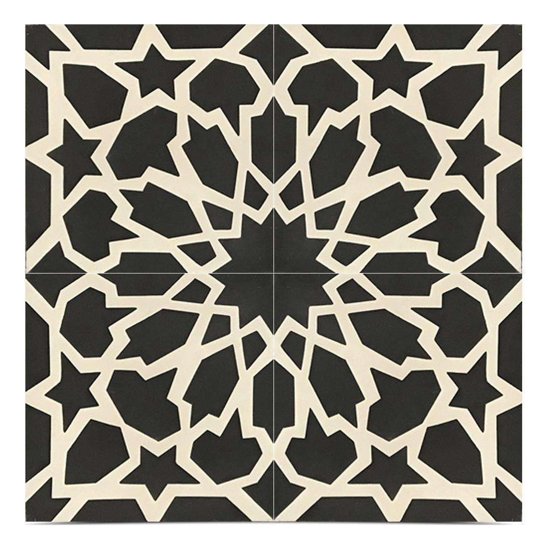 Moroccan Mosaic & Tile House CTP40-01 Bahja Handmade Cement Tile, 8x8'', Black/White