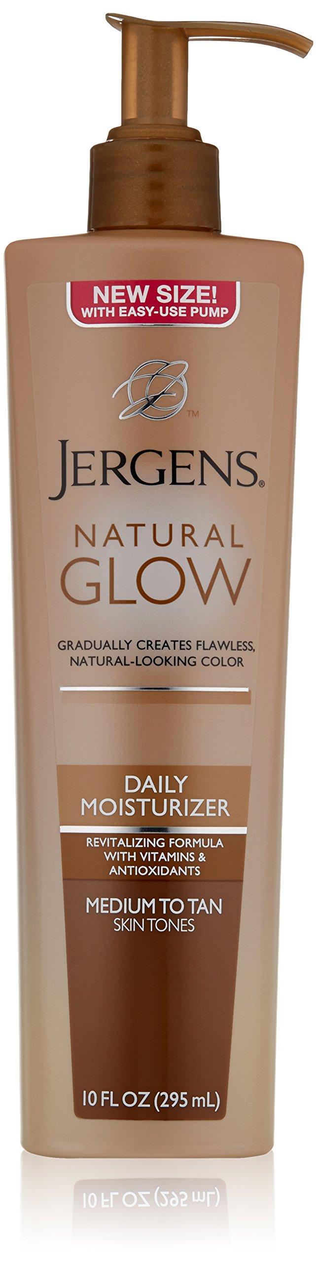 Jergens Natural Glow Daily Moisturizer, Medium to Tan Skin Tones, 10 Ounce Pump