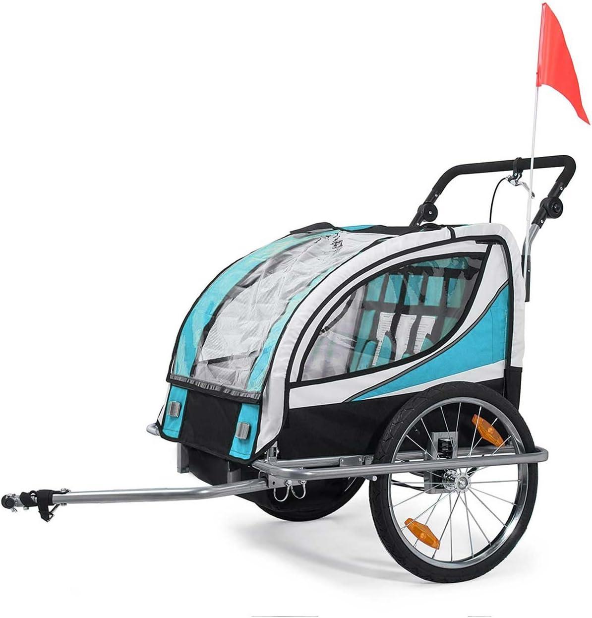 SAMAX Remorque V/élo convertible Jogger 2en1 360/° rotatif Pour 2 Enfants Amortisseur Transport Poussette en Bleu Silver Frame