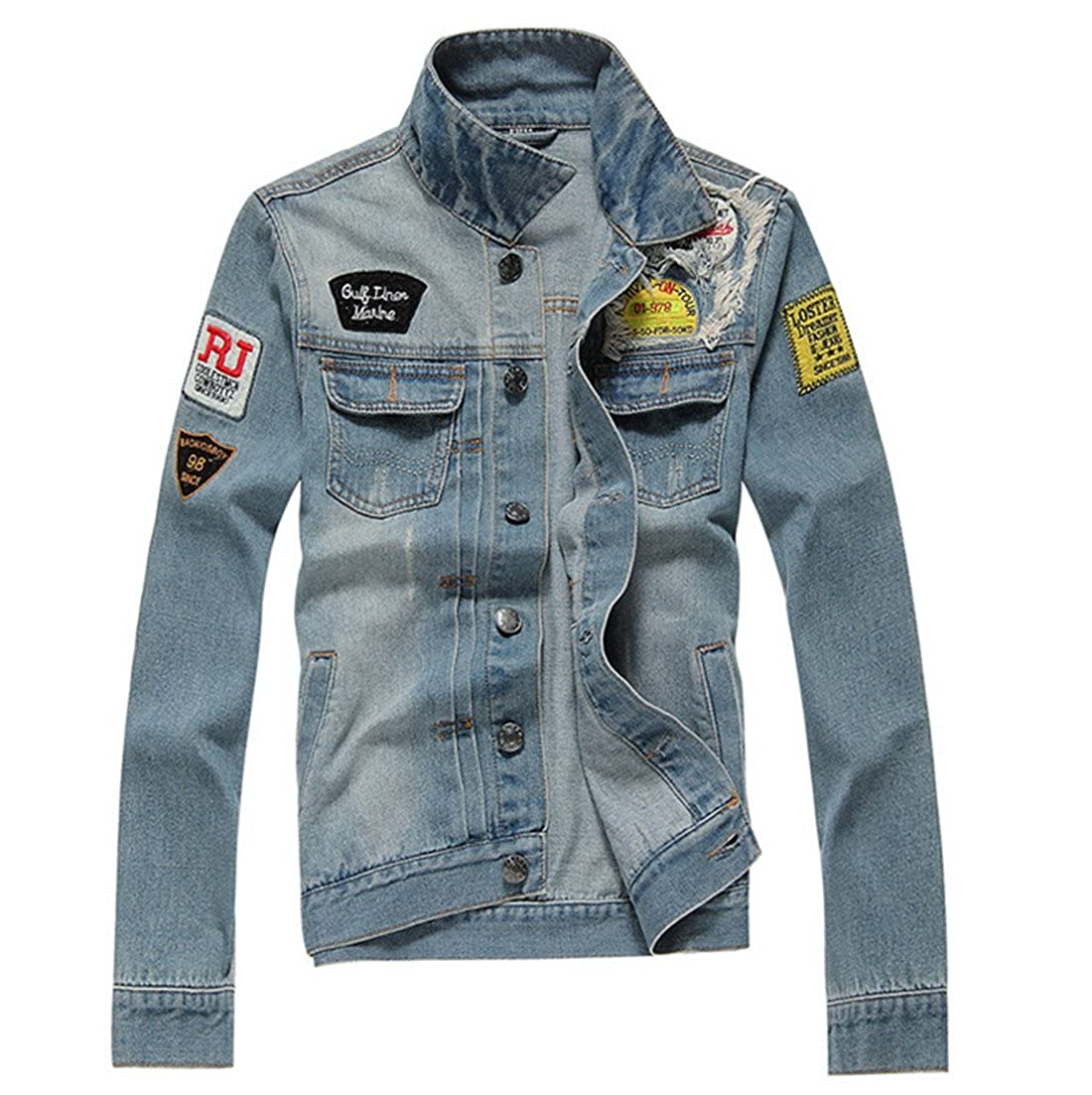 Partiss Men's Outerwear Fashion Frayed Faded Denim Jacket CA20170FNJ019