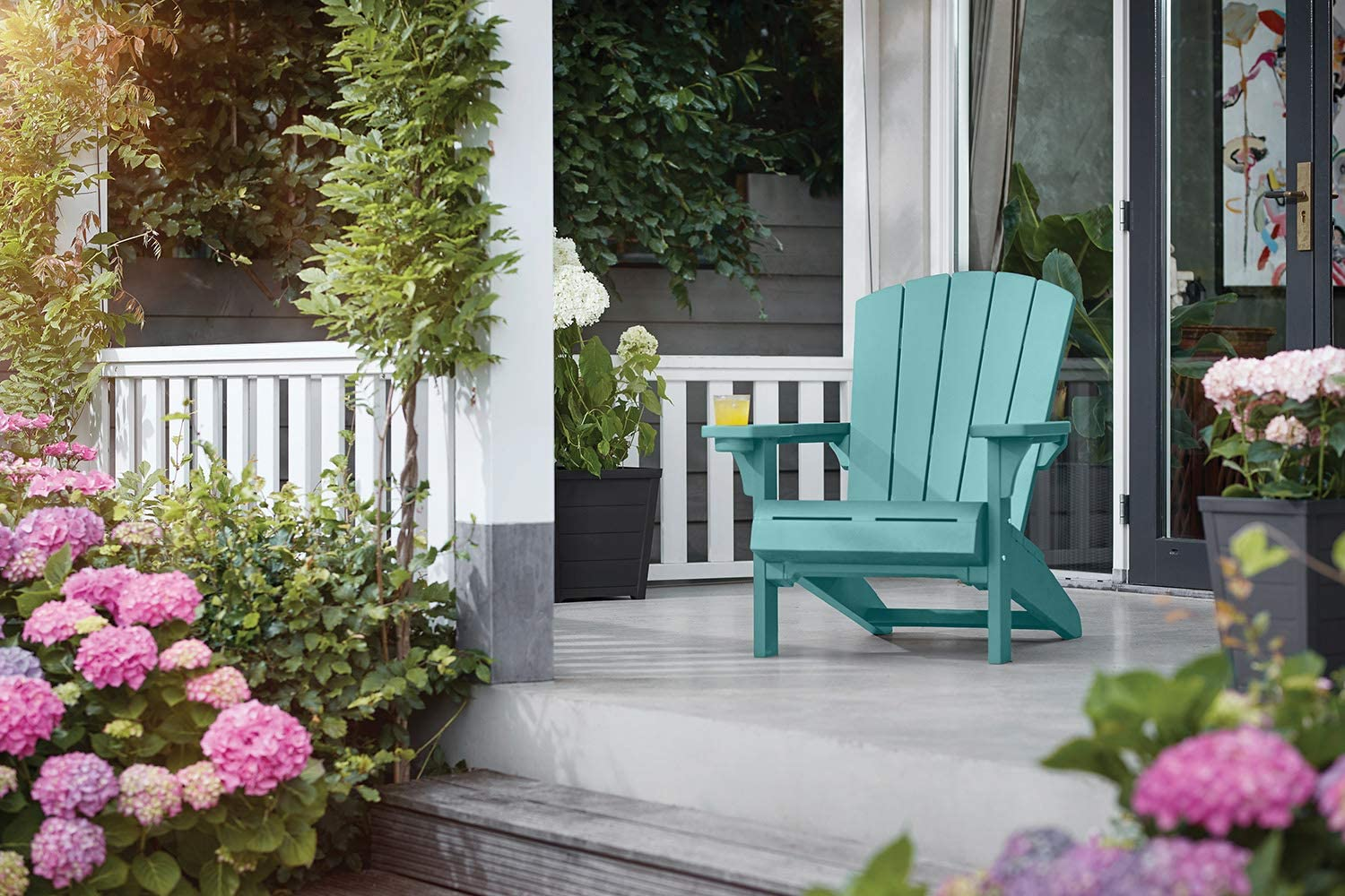 KETER Alpine Adirondack Resin Outdoor Furniture Patio Chairs with Cup Holder-Perfect for Beach, Pool, and Fire Pit Seating, Teal : Garden & Outdoor