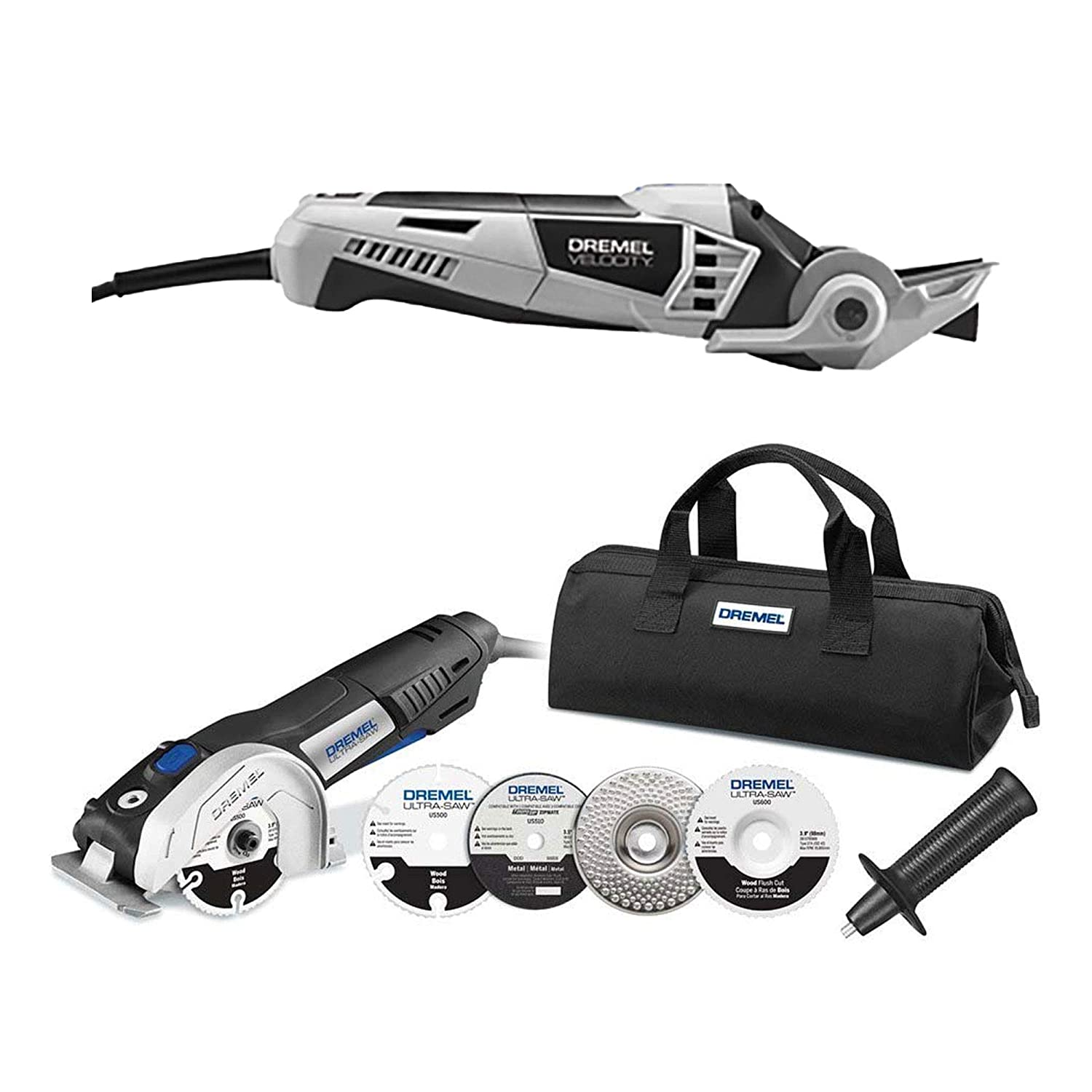 "Dremel Velocity VC60 Multi Oscillating Saw Rotary Tool (Certified Refurbished) Dremel US40 7.5 Amp 4"" Ultra-Saw Corded Circular Saw Kit (Certified Refurbished)"