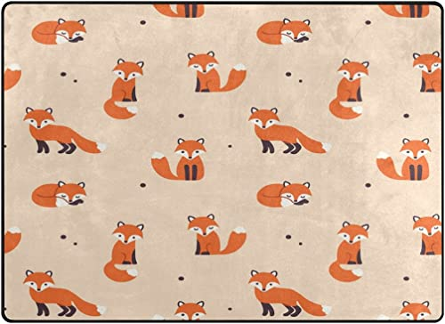 ALAZA Cute Polka Dot Cartoon Foxes Area Rug Rug