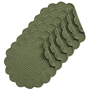"""Pine 17"""" Round Quilted Placemat Set of 6"""