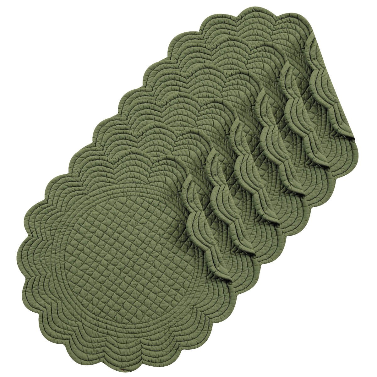 Pine 17'' Round Quilted Placemat Set of 6