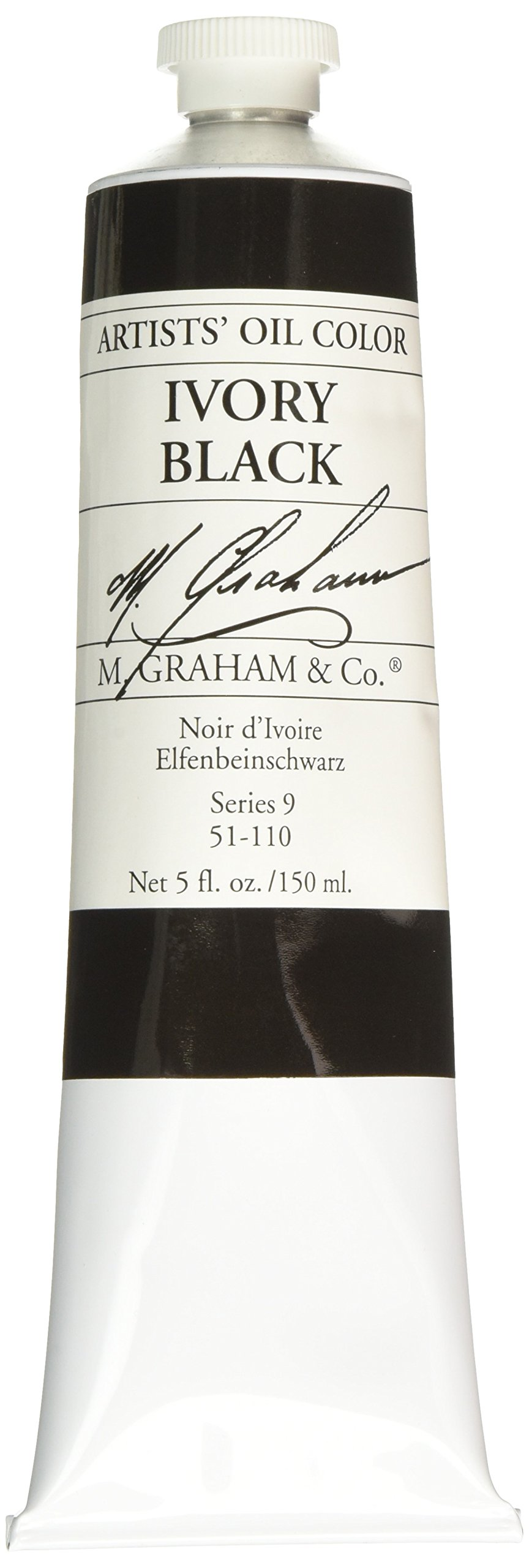 M. Graham Artist Oil Paint Ivory Black 5oz Tube