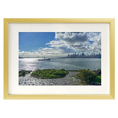 Frametory,5x7 Gold Aluminum Metal Table Top Photo Frame with Ivory Color Mat for 4x6 Picture & Real Glass Easel Stand