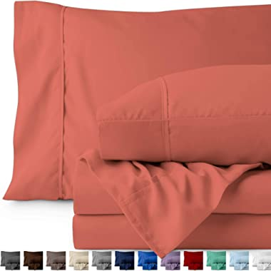 Bare Home Queen Sheet Set - 1800 Ultra-Soft Microfiber Bed Sheets - Double Brushed Breathable Bedding - Hypoallergenic – Wrinkle Resistant - Deep Pocket (Queen, Coral)