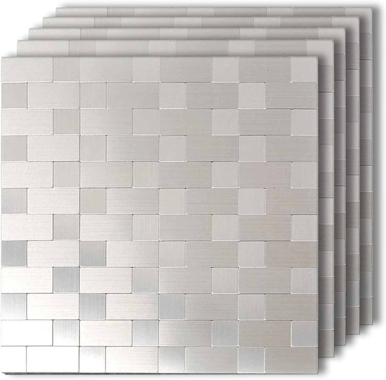 - Amazon.com: HomeyMosaic Silver Subway Peel And Stick Tile