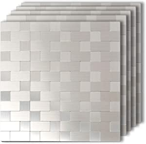"HomeyMosaic Silver Subway Peel and Stick Tile Backsplash Stick On Kitchen Wall Decor Metal Mosaic Smart Tiles Sticker(12""x12""x 5 Sheets)"